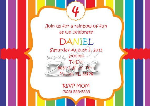 Cool Rainbow Birthday Party Invitations Ideas FREE Printable