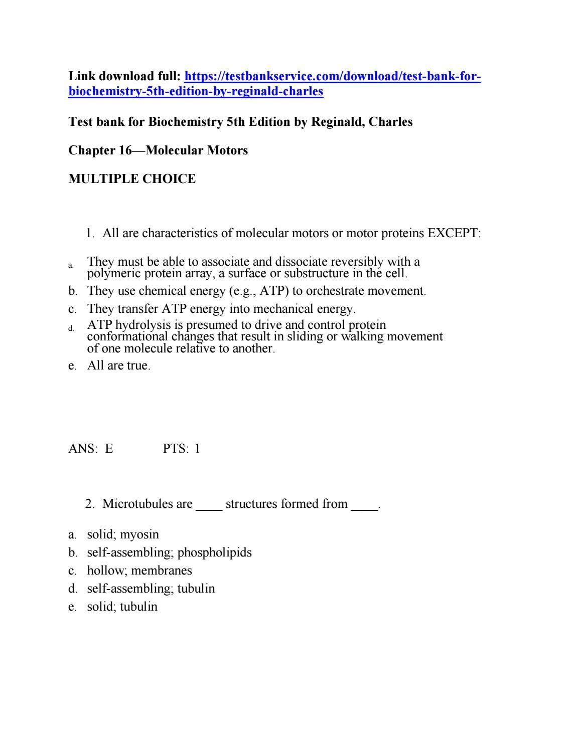 Test bank for biochemistry 5th edition by garrett