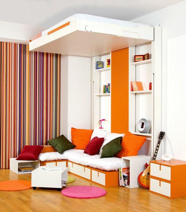 Chambre coucher 103 grandes id es lit escamotable tables - Chambre a coucher petite surface ...