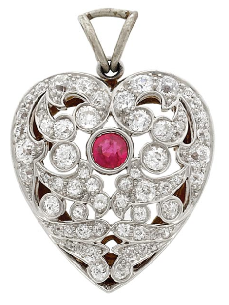 7f0f5ddfb Belle Epoque Platinum, Gold, Ruby and Diamond Heart Pendant-Brooch. One  round ruby ap. .35 ct., 62 old European-cut diamonds ap. 2.25 cts., c.  1905, pendant ...