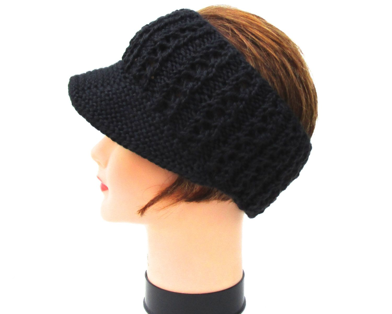 Custom Order For Janice Storm Lace Rib Sun Visor Black Etsy Knitting Hat Pattern Sun Visor Pattern