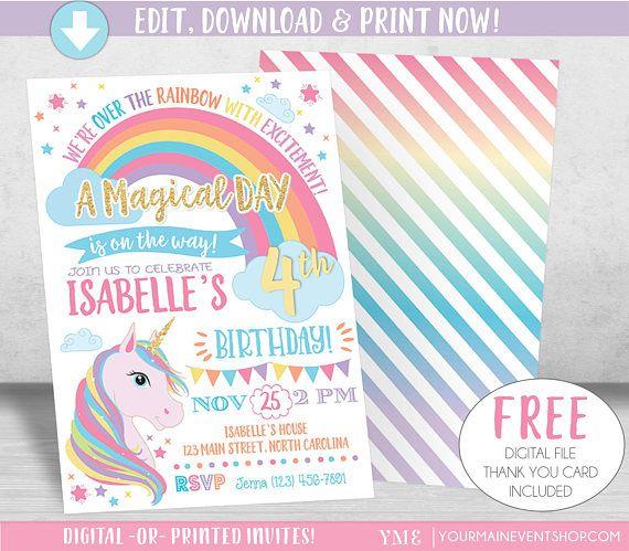 Unicorn Birthday Invitation Rainbow Invite Printable Party
