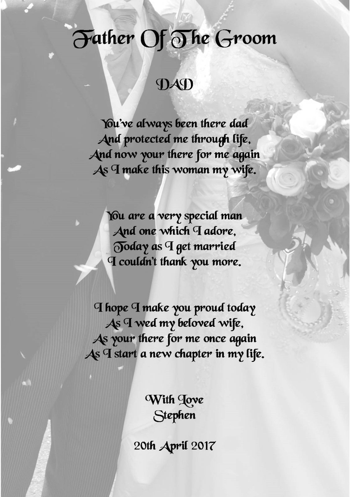 Wedding day thank you gift father of the groom poem a photo ebay