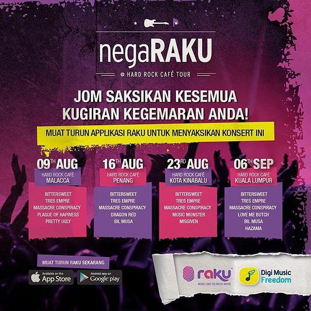 Jom ke Melaka ahad ini. Saksikan band kegemaran anda. Muat turun app #RAKU utk saksikan konsert ini. Masuk adalah percuma. Jumpa anda di sana! @prettyuglyband #malaysia #lokalah #localband #rock #hardrockcafetour #digimusic