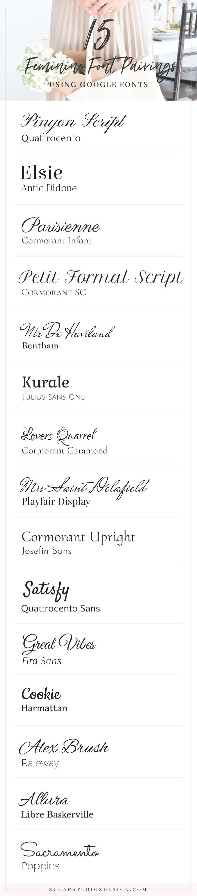 15 Feminine Google Font Pairings Free Google Font Pairings Girly Fonts Google Fonts
