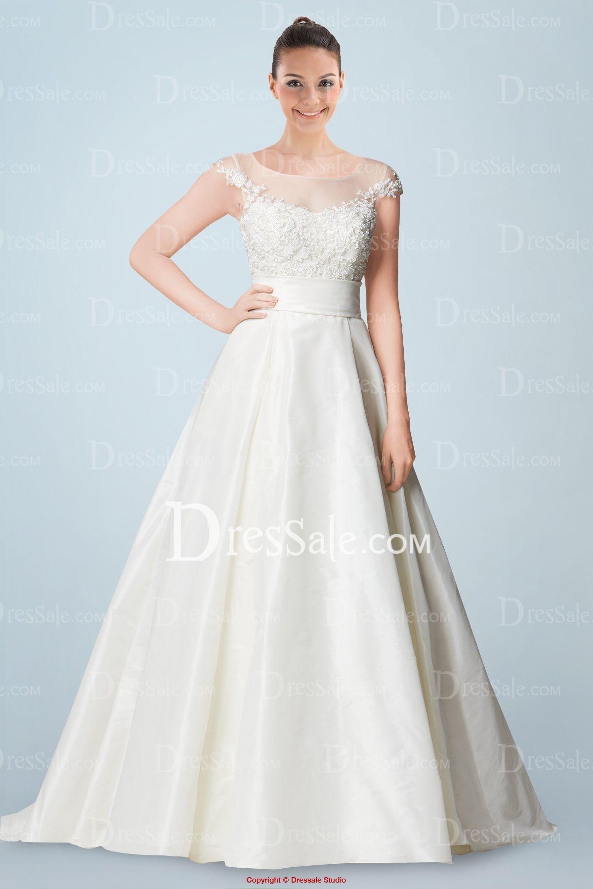 Gorgeous Princess Illusion Neckline Cap Sleeves Chapel Train Wedding ...