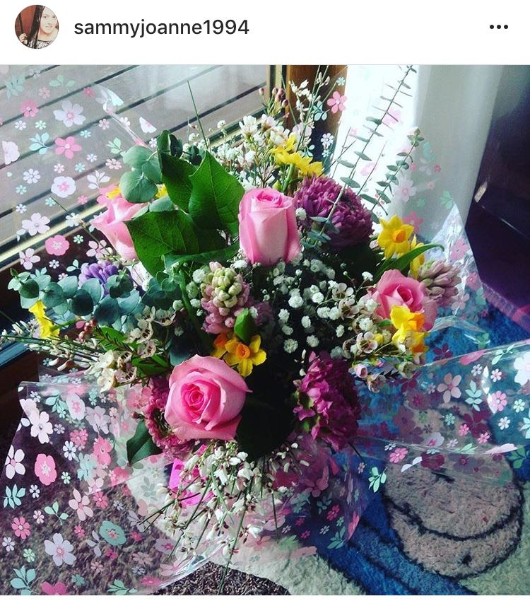 I Created A Compact Spring Bouquet With Pink Roses Narsisi Hyacinths Was Flower September Tulips Foliage And Gypsop Spring Bouquet Pink Roses Spring Colors