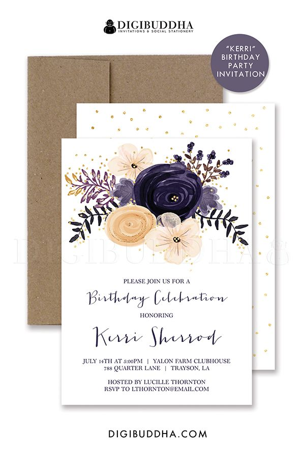 Boho chic plum purple watercolor floral birthday invitation with ...
