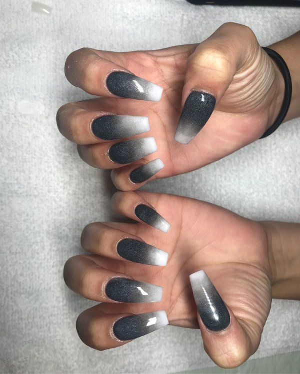 Blackandwhite Coffinnails Ombre Nails Ombrenails Ombrenailart Nailart Naildesigns Summernails Black Ombre Nails Ombre Nail Designs Ombre Nails