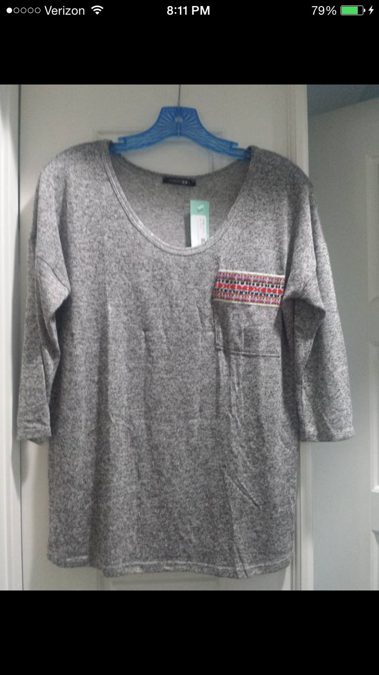 Papermoon Elvina shirt embroidery front pocket shirt. **would only want gray--not the black or white*