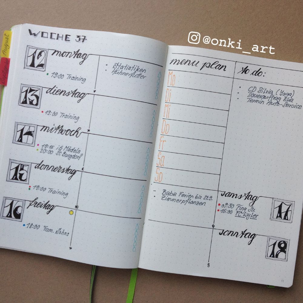 Kalender Gestalten Ideen Bullet Journal Weekly Spread Woche 37 Superbuch Bullet Journal