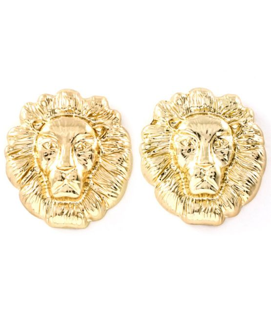 Cute Celebrity Designer Inspired Gold Statement Small Lion Head Stud Earrings Uk Ebay