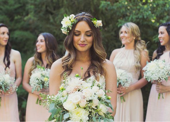 Blush Bridesmaids Dresses In Different Shades And Lengths For Rustic Barn Wedding