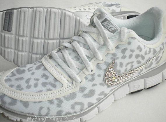 nike free run 5.0 v4 shoes white  wolf grey  metallic silver leopard cheetah design bedazzled with swarovski elements crystals pinterest cu2026