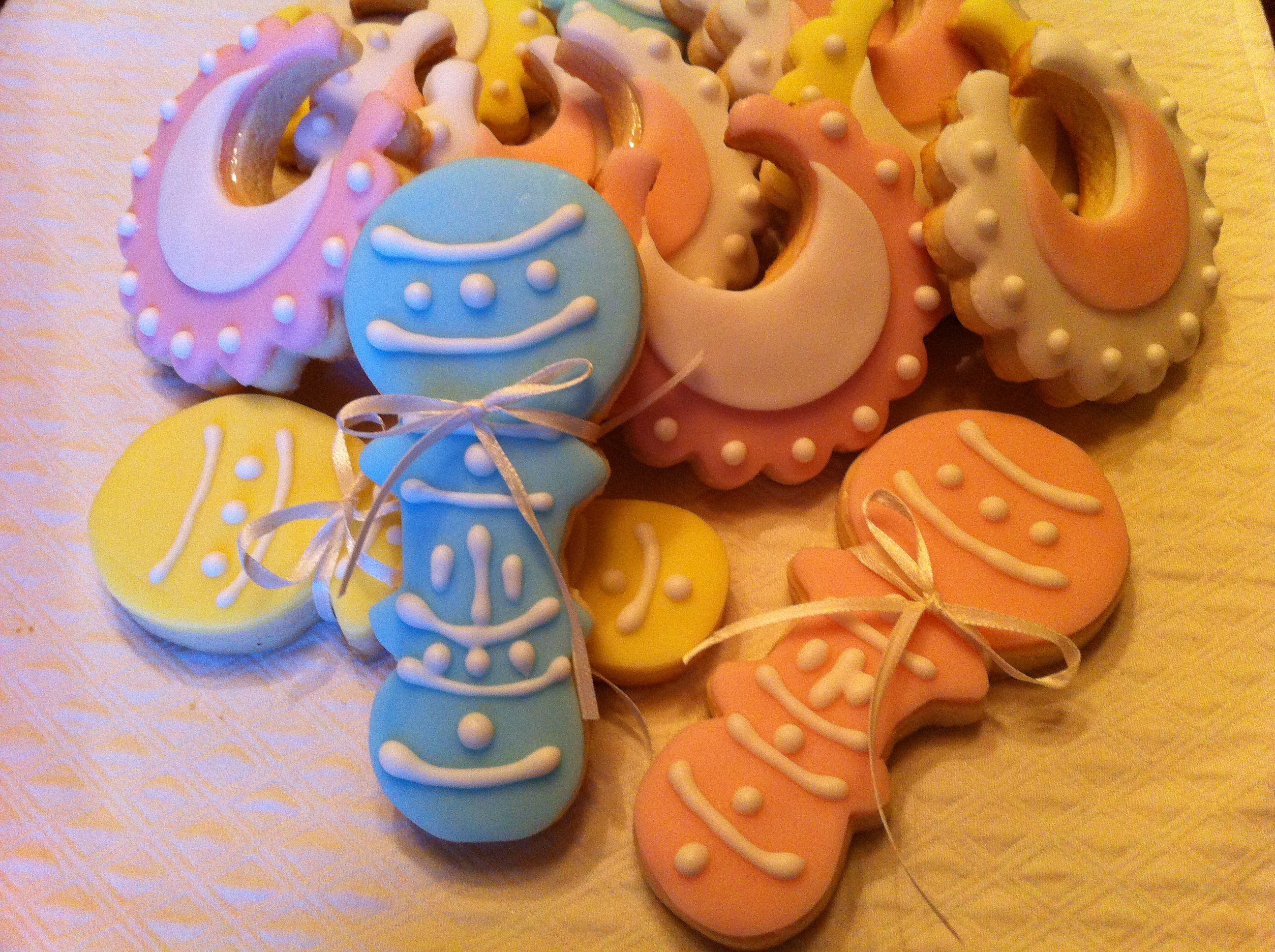 Baby shower cookies with fondant and royal icing.