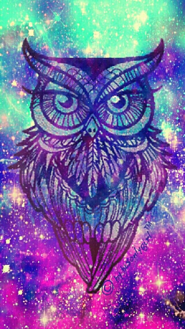 Galaxy owl iPhoneAndroid wallpaper I created for