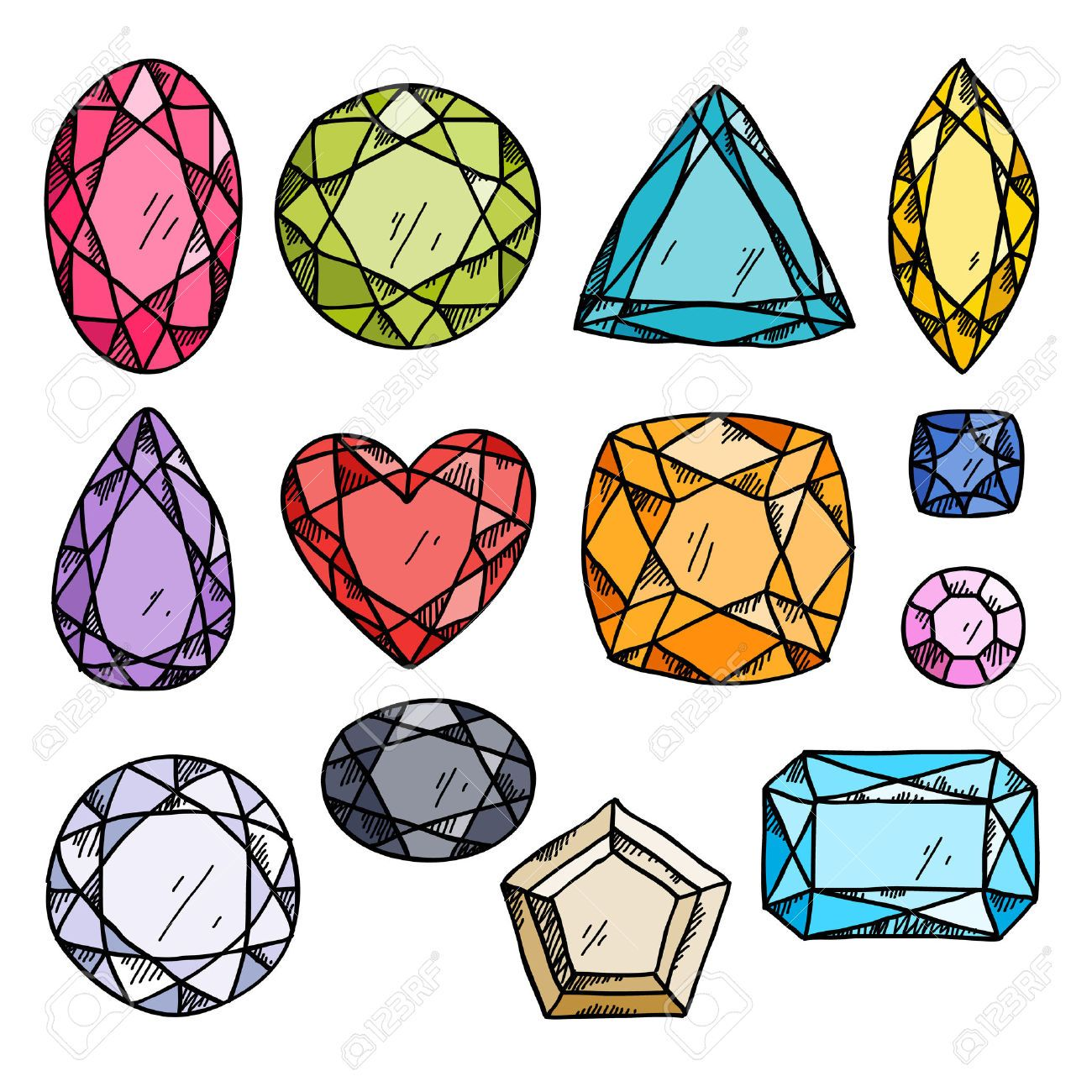Set Of Colorful Jewels Hand Drawn Gemstones Sketch Style Illustration Gem Drawing Jewel Drawing Crystal Drawing