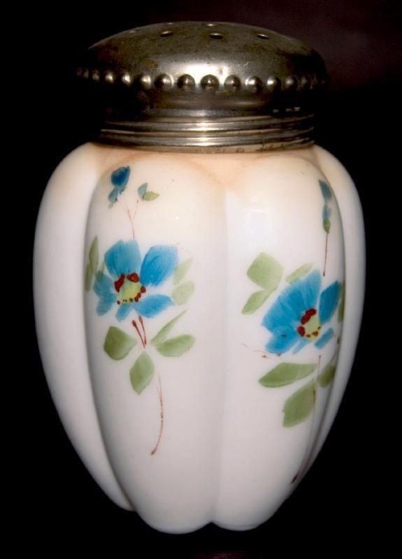 """Gillinder and Sons Late 1890's (1895) Hand Painted Decorated Opal Satin Sugar Shaker / Muffineer. T his su gar shaker shape (with the same lid and similar hand painted pattern) is shown in the book """"Victorian Colored Pattern Glass Book III """" by William Heacock.   eBay!"""
