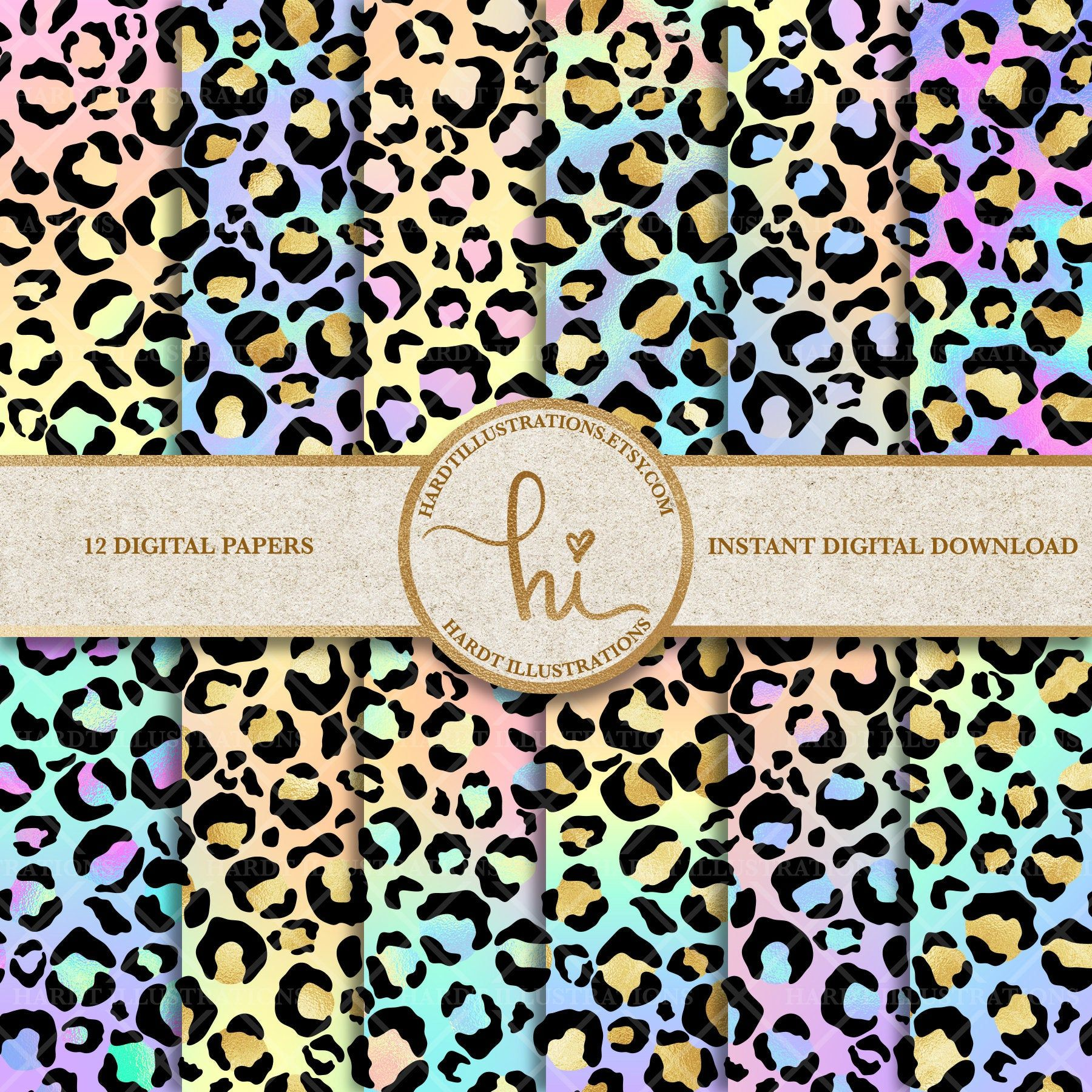 Pastel Leopard Print Digital Paper Holographic Rainbow Etsy In 2020 Digital Paper Original Art Prints Cute Scrapbooks