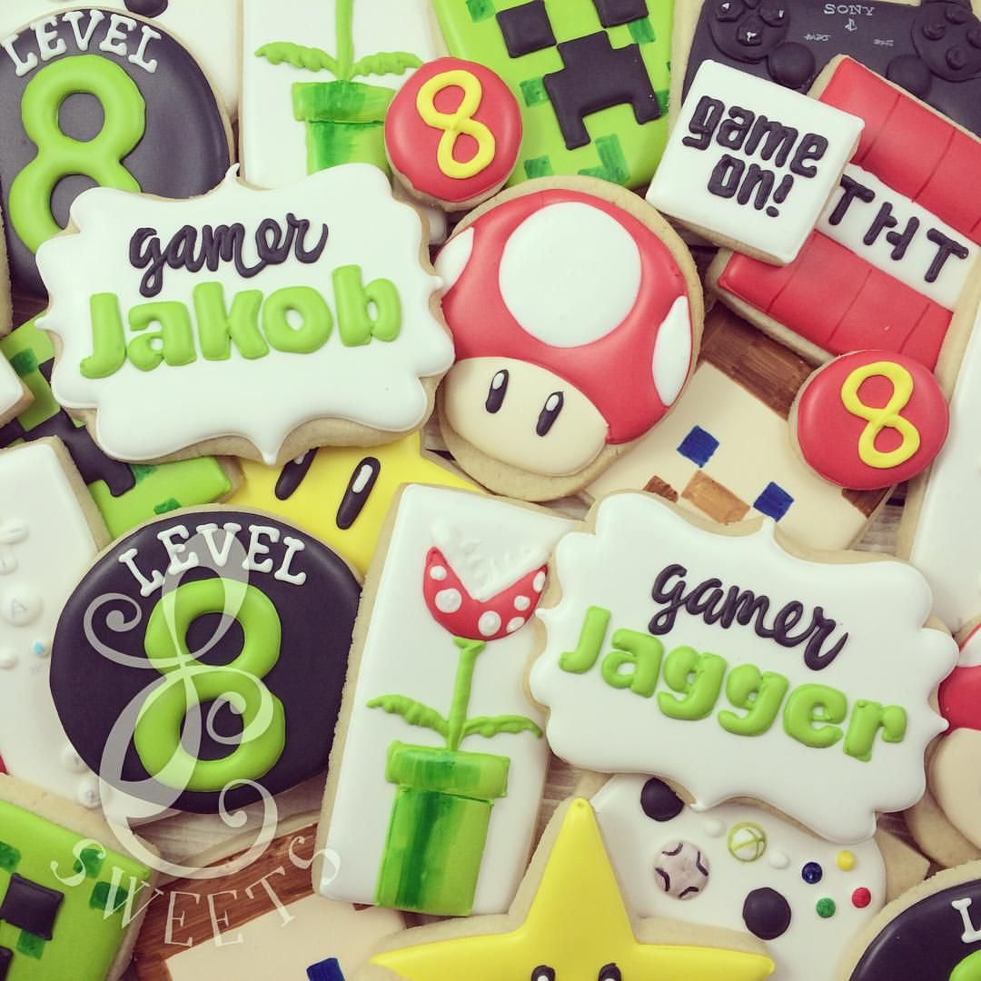 Gamer Cookies. Mario And Minecraft Video Games