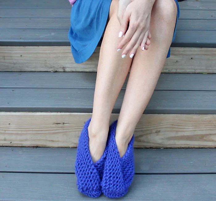 Photo of Easy Foldover Slippers Knitting Pattern by Blogger Gina Michele