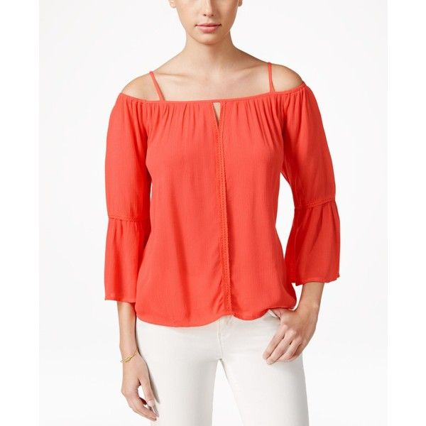 Stoosh Juniors' Off-Shoulder Peasant Blouse ($27) ❤ liked on Polyvore featuring tops, blouses, coral, peasant tops, off-the-shoulder tops, off shoulder blouse, off the shoulder peasant top and coral blouse