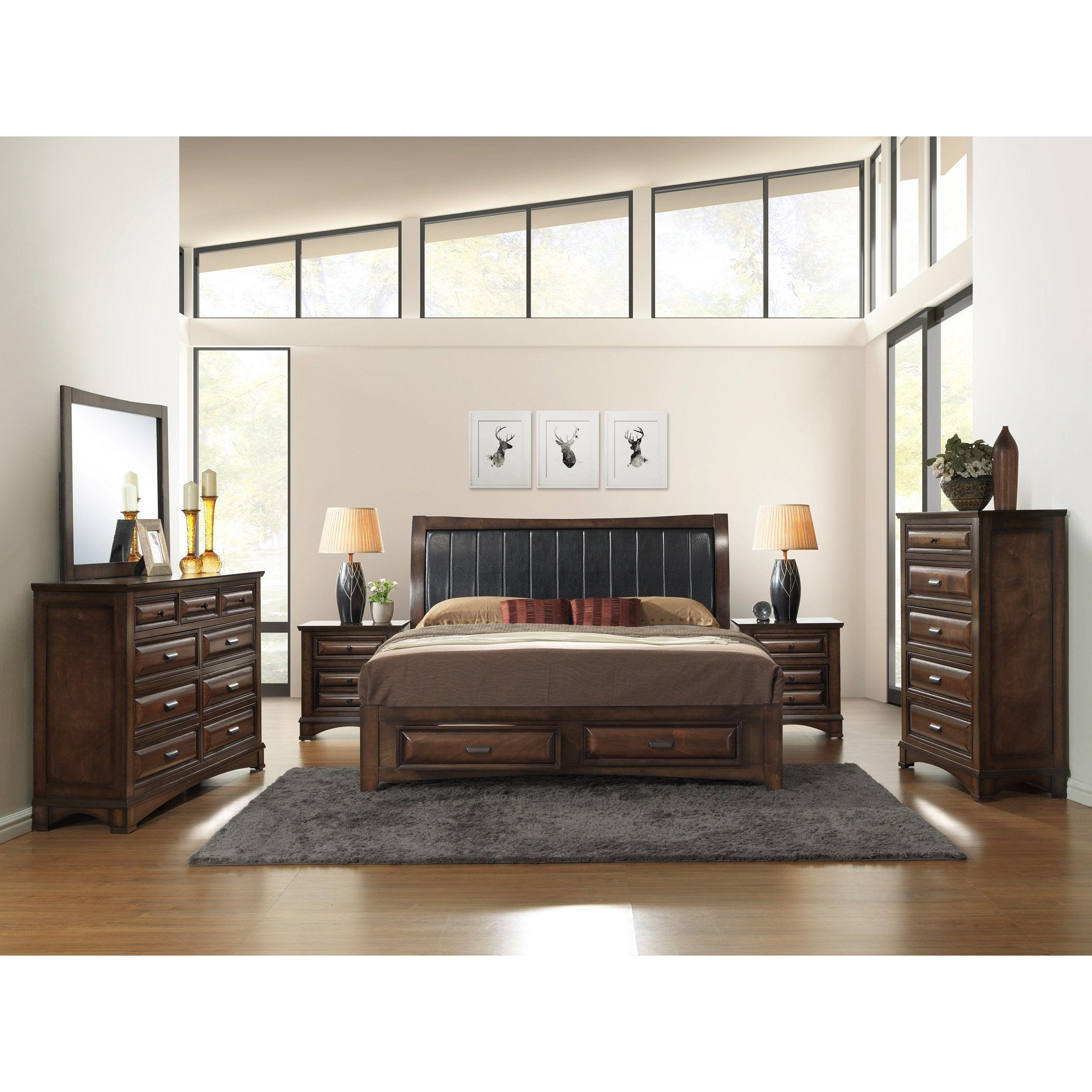 Broval 179 6Piece Light Espresso Finish Wood Queensize Bedroom New Queen Size Bedroom Sets Design Inspiration