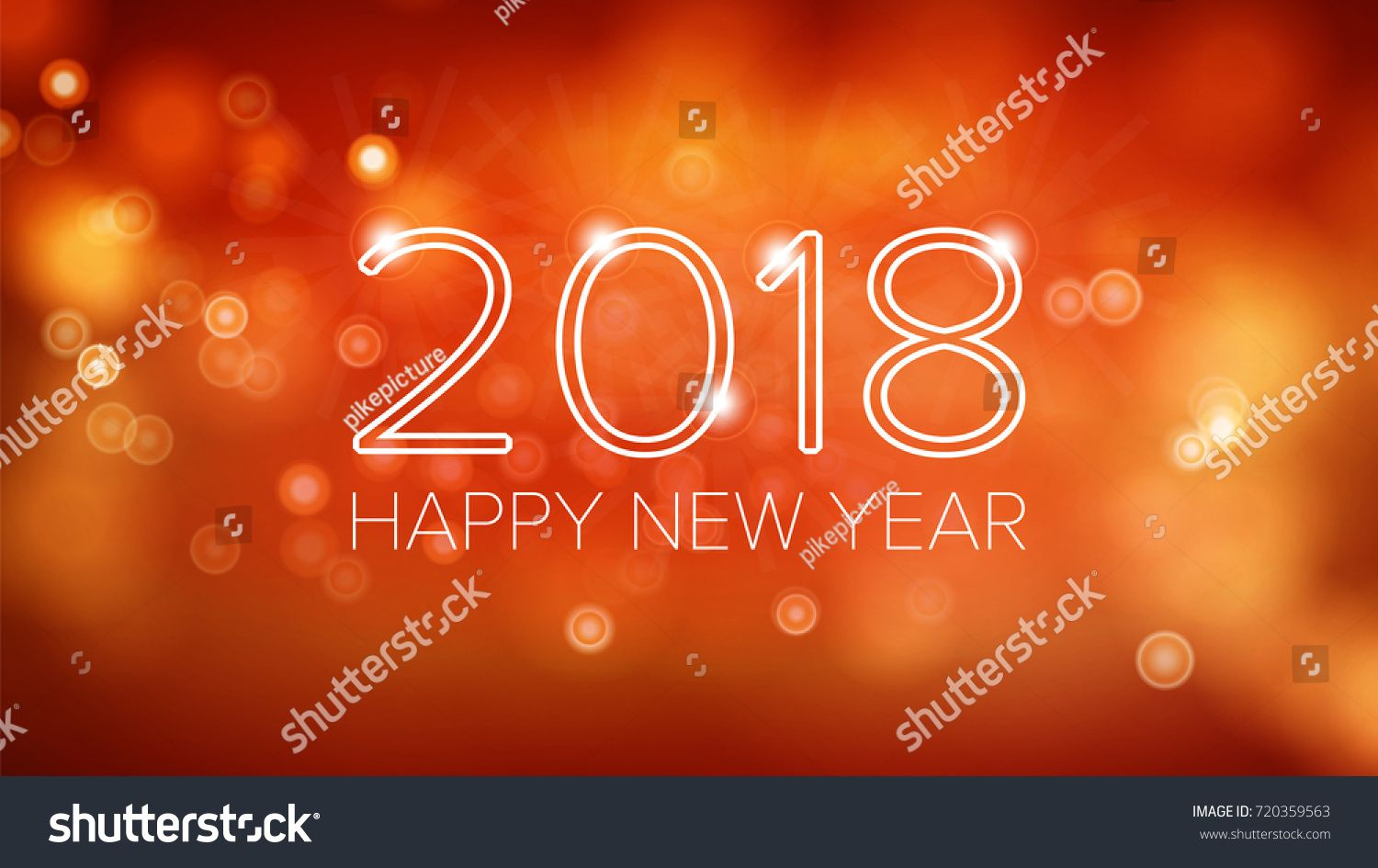 happy new year 2018 background vector orange bokeh in vintage style flyer or brochure design template 2018 festival holiday decoration illustration