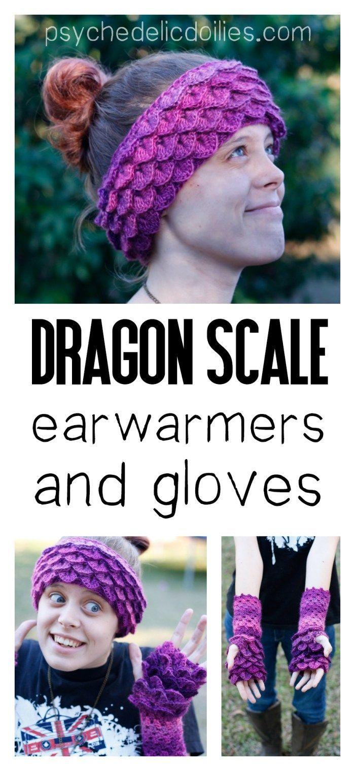 Dragon Scale Ear Warmers - Free Crochet Pattern | Dragon scale ...