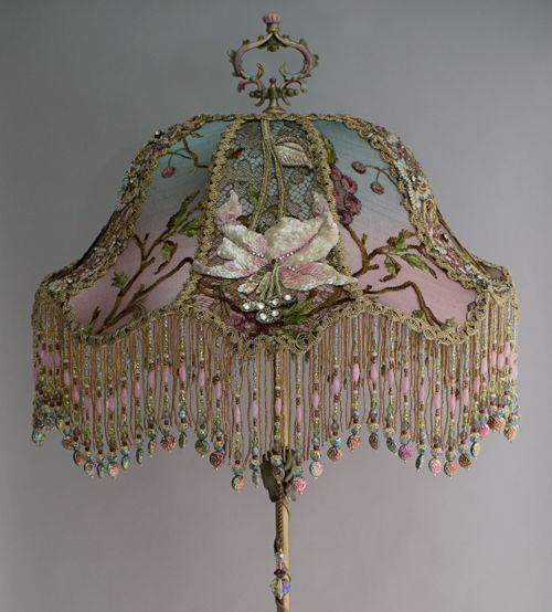 Lily & Dragonfly Beaded Antique Victorian Lampshade from Nightshades Detail