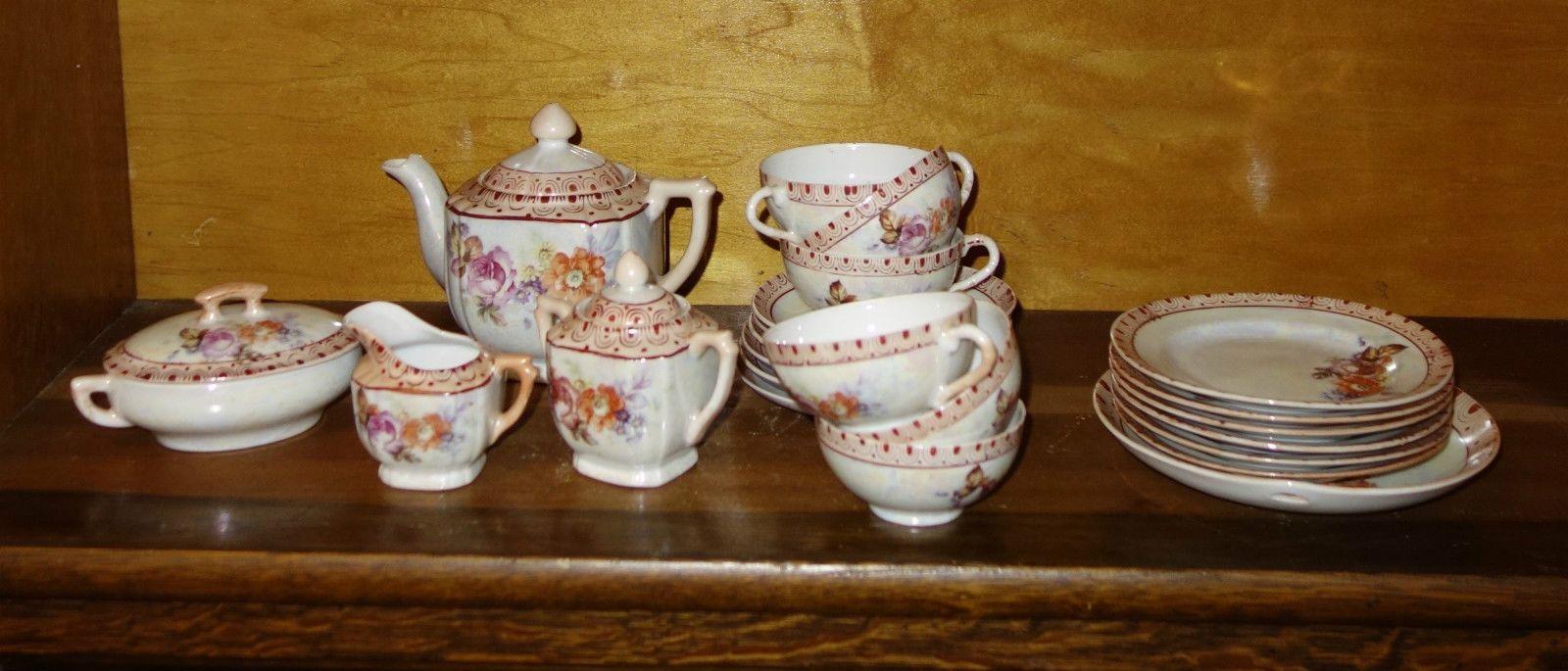 Antique Vintage Porcelain Made In Japan Tea Set Toy Childrens Doll