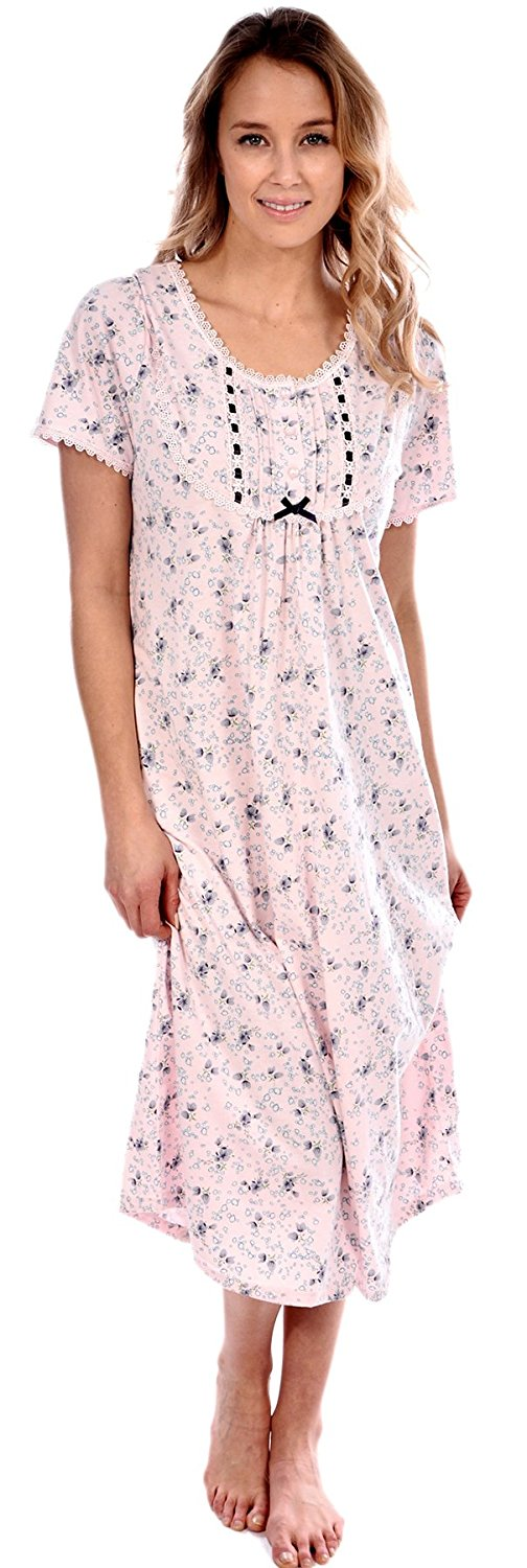 Patricia Women's Knit Cotton Floral Short Sleeve Nightgown PJ * This is an Amazon Affiliate link. You can find more details by visiting the image link.