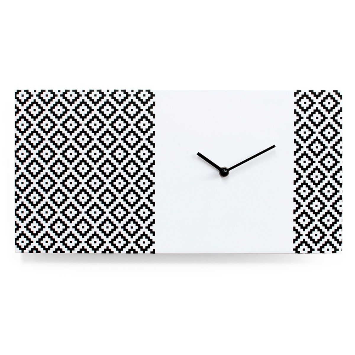 Stylish designer high end modern horizontal rectangular wall stylish designer high end modern horizontal rectangular wall mounted analog clock in white and black amipublicfo Image collections