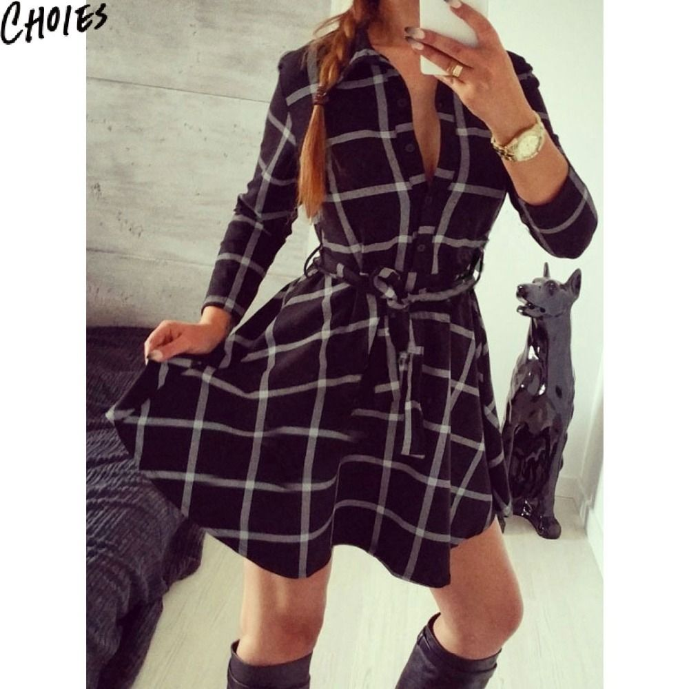Aliexpress.com  Acheter Femmes noir Vintage imprimé à carreaux taille  ceinturée 3 4 manches Mini chemise robe 2016 New Summer bouton de Style  décontracté ... a8bb928000ec