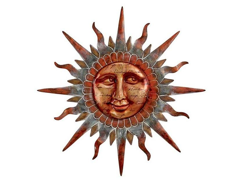 Copper Sun Face Wall Decor casualhomefurnishings