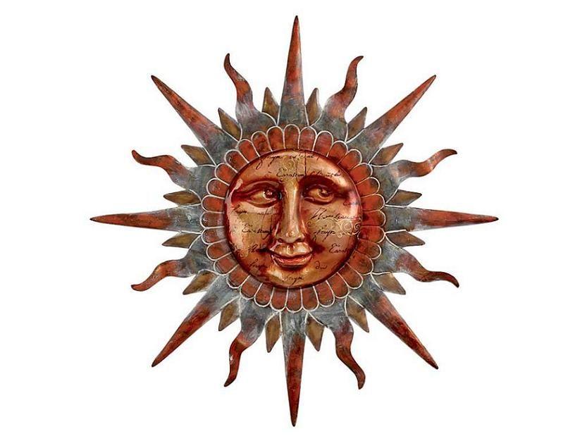 copper sun face wall decor magical metals sun art sun stars sun. Black Bedroom Furniture Sets. Home Design Ideas