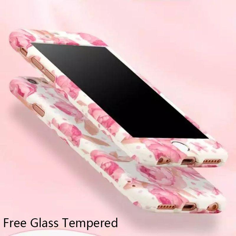 새로운 꽃 디자인 360 360도 케이스 아이폰 6 6 초 플러스 전신 보호 케이스 커버 + 강화 유리 사랑스러운 귀여운 케이스