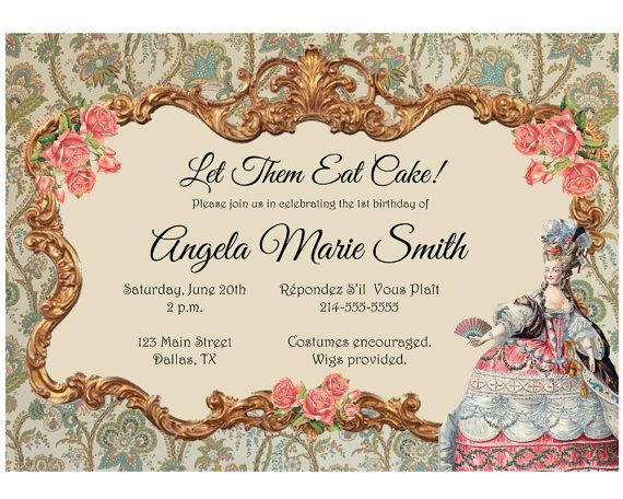 Marie Antoinette Birthday Invitation French by BowTieInvites