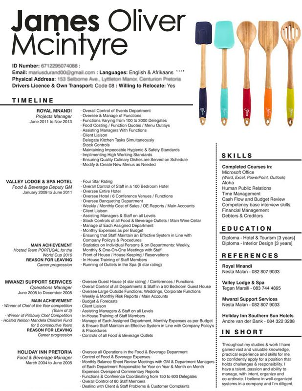 Resume example resumes Pinterest Template - chef resume examples