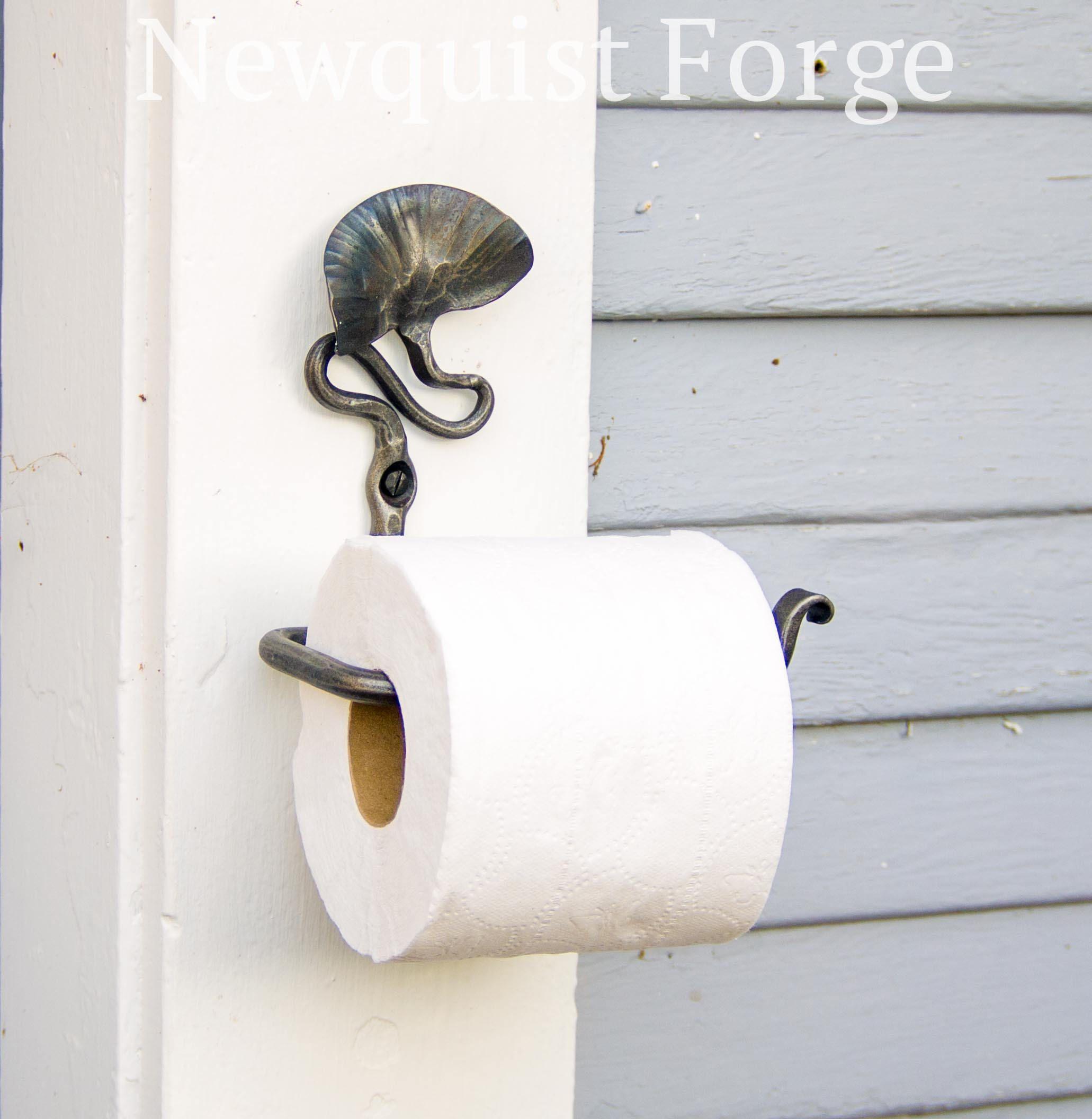 Toilet Paper Holder Hand Forged Bathroom Decor Botanical Pt