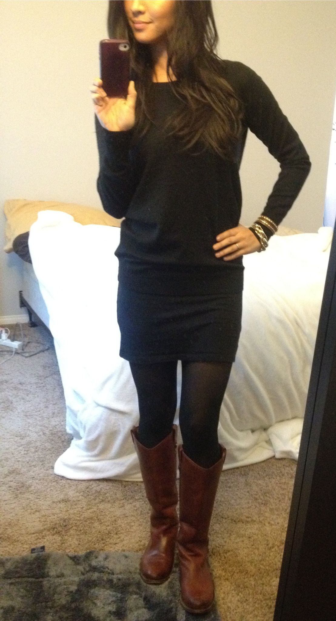 Winter. All black, brown boots. | Style | Pinterest | Clothing ...