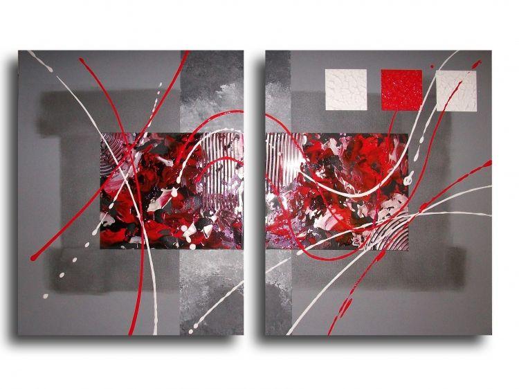 Tableau Peinture Art Rouge Noir Design Abstrait Abstrait Acrylique Tableau Toile Diptyque Rouge Noir Gris Blanc Art Peinture Toile Tableau Art Abstrait Gris