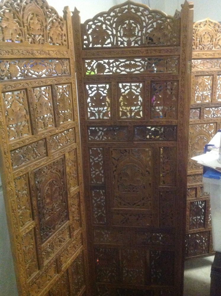 Best Wood Room Divider Screen Soji 4 Panel Hand Carved Partition Privacy  Divisio - Vintage Style Panel Screen Room Divider Fordable Handcrafted Wood