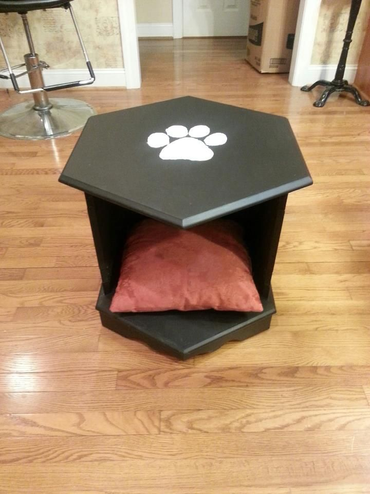Pet bed from old octagon end table custom pet beds ive for Dog bed table