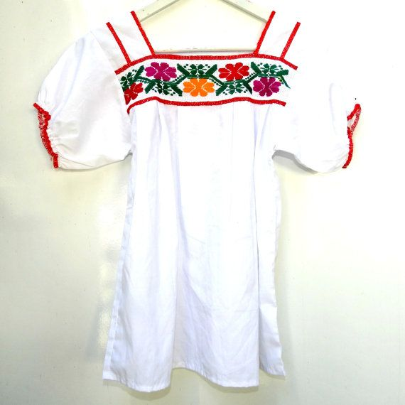 Authentic mexican embroidered blouse, Womens mexican embroidered peasant  blouse, White mexican blouse, Traditional mexican blouse, XS