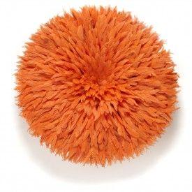 Snob orange Bamilke headdress or Juju feather hat made in Cameroon by hand