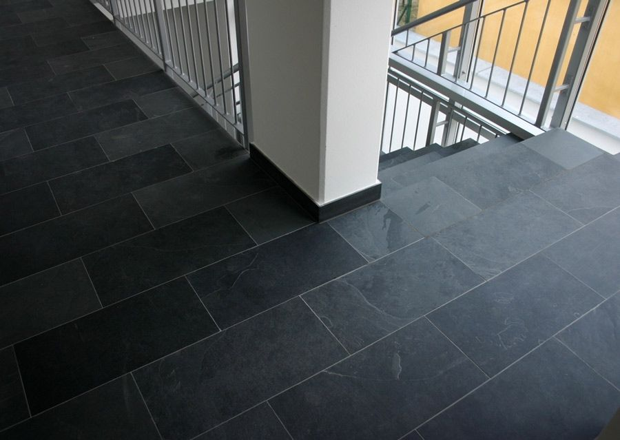 Kitchen Slate Tile W Dark Grout Flooring