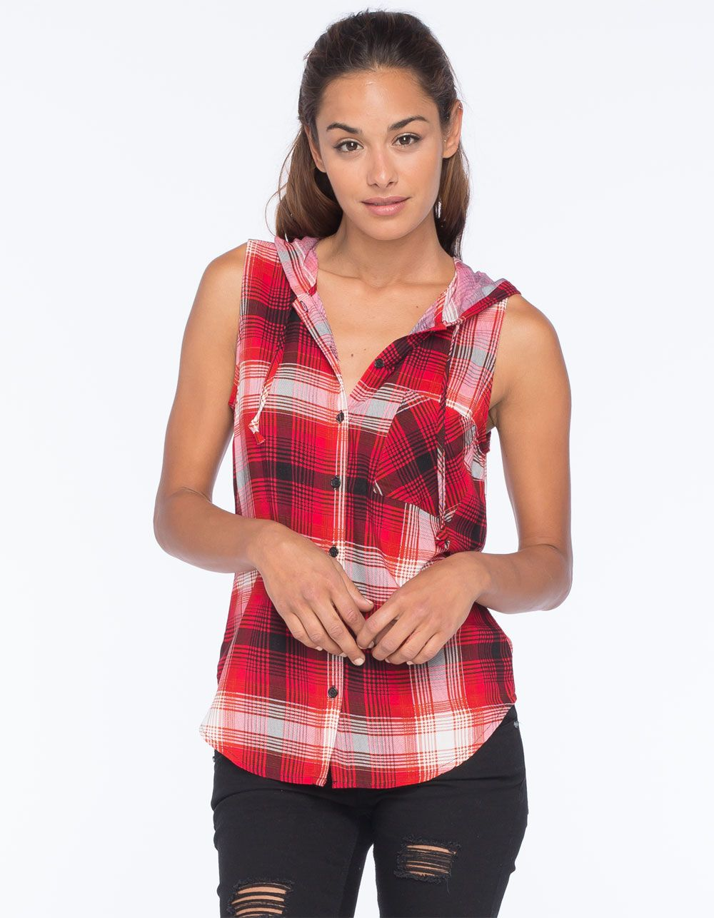 Flannel shirts 1990s  POLLY u ESTHER Hooded Challis Womens Flannel Top   Shirts