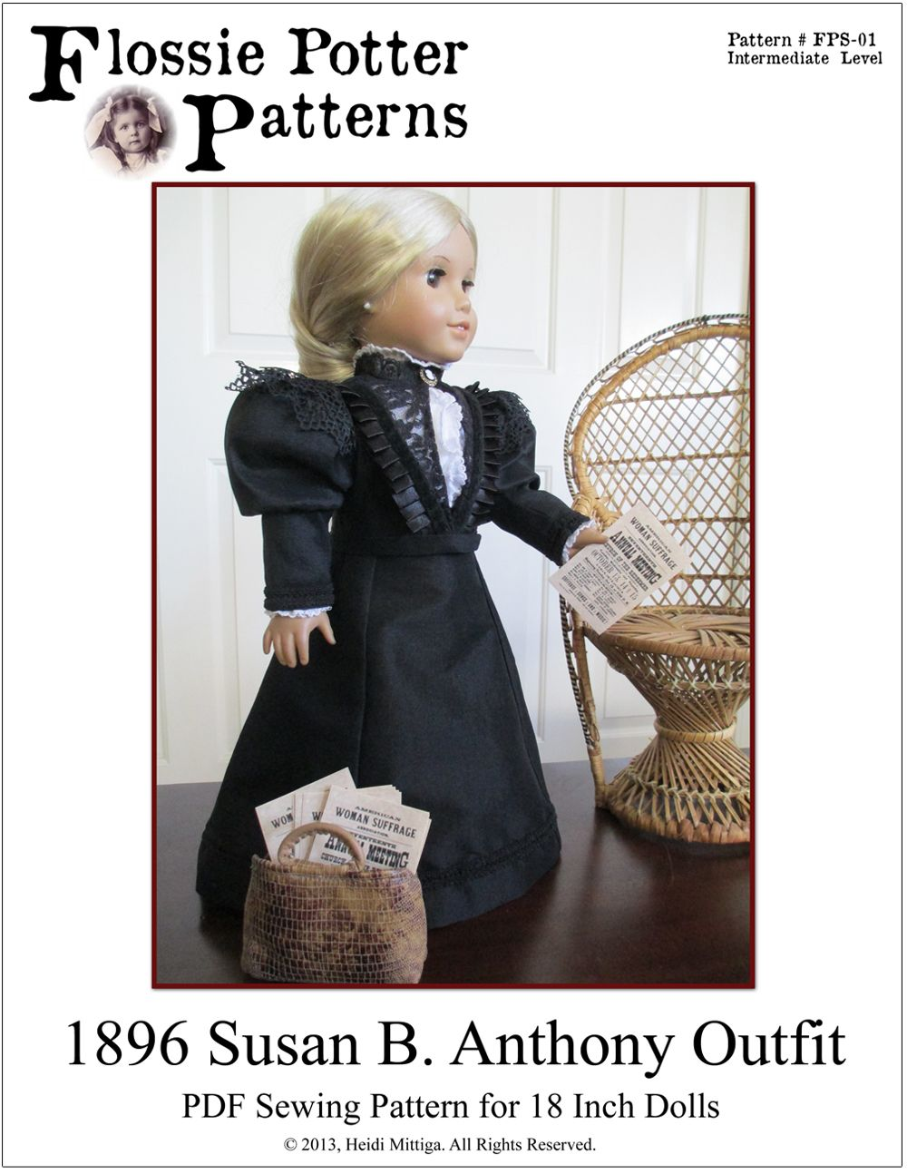 The 1896 Susan B. Anthony Outfit pdf sewing pattern is available on www.pixiefaire.com.