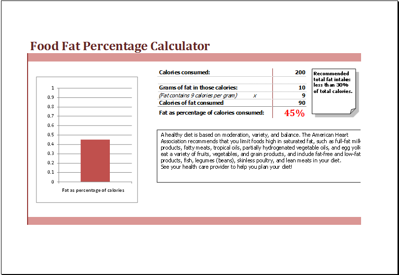 food fat percentage calculator at www xltemplates org microsoft
